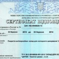Сертификат соответствия ТУ
